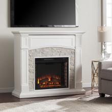 Seneca Electric Media Fireplace - White w/ White Faux Stone