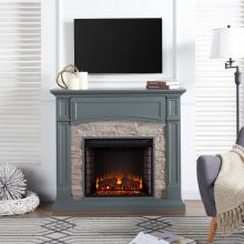 Seneca Electric Media Fireplace - Gray w/ Weathered Stone