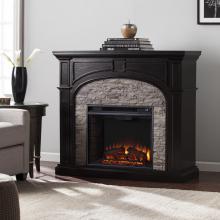 Tanaya Electric Fireplace - Ebony w/ Gray Stacked Stone