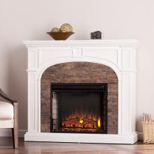 Tanaya Stacked Stone Effect Electric Fireplace - White