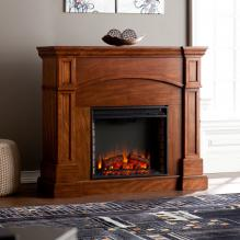 Lantana Corner Convertible Electric Fireplace - Oak Saddle