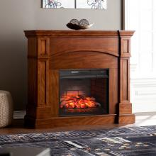 Lantana Corner Convertible Infrared Fireplace - Oak Saddle