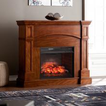 Lantana Corner Convertible Infrared Fireplace - Oak Saddle