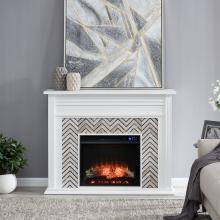 Hebbington Tiled Marble Electric Fireplace
