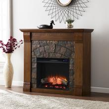 Elkmont Faux Stone Electric Fireplace