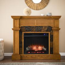 Cartwright Corner Convertible Electric Fireplace w/ Faux Stone Surround