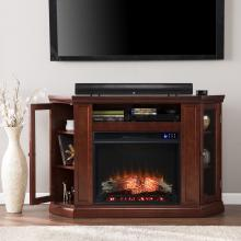 Claremont Electric Corner Fireplace w/ Storage- Cherry