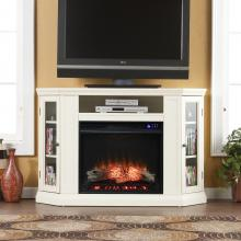 Claremont Electric Corner Fireplace w/ Storage - Ivory