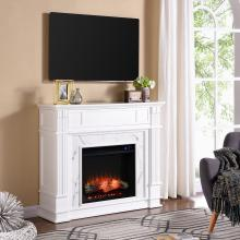 Highgate Faux Cararra Marble Electric Media Fireplace - White