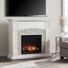 Seneca Electric Media Fireplace - White