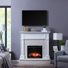 Jacksdale Electric Media Fireplace w/ Faux Stone