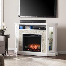 Redden Corner Convertible Electric Fireplace w/ Storage - White