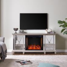 Toppington Mirrored Fireplace Media Console w/ Alexa Firebox