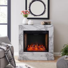 Dendale Faux Marble Fireplace w/ Alexa Firebox