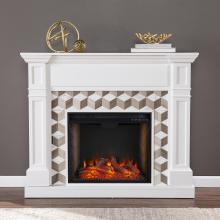 Darvingmore Alexa Smart Fireplace w/ Marble Surround