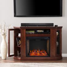 Claremont Smart Corner Fireplace w/ Storage- Cherry
