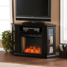 Claremont Smart Corner Fireplace w/ Storage - Black