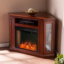Claremont Smart Corner Fireplace w/ Storage - Brown Mahogany