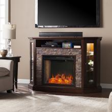 Redden Corner Convertible Smart Fireplace w/ Storage - Espresso
