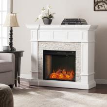 Merrimack Smart Convertible Fireplace w/ Faux Stone - White