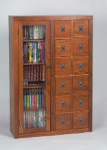 Leslie Dame Library Style Multimedia Storage Cabinet & Solid Wood CD Storage DVD Storage CD Cabinet DVD Cabinet For ...