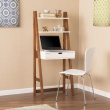 Baysdale Leaning Desk/Bookcase - White w/ Oak