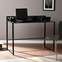 Mercer Metal/Glass Desk w/ Power & USB - Black