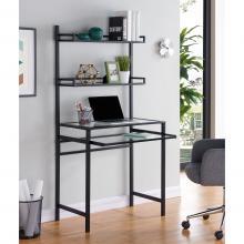 Brax Metal/Glass Small-Space Desk w/ Hutch - Black