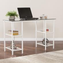 Aiden Metal/Glass Writing Desk - White