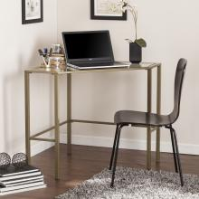 Keaton Metal/Glass Corner Desk - Matte Khaki