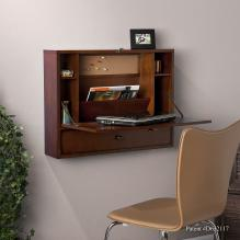 Wall Mount Laptop Desk - Brown Mahogany