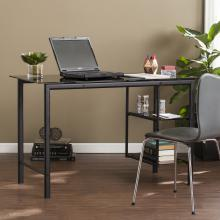 Oslo Contemporary Metal & Glass Desk - Black w/ Smoky Glass