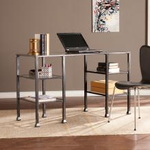 Metal/Glass Desk - Distressed Black