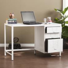 Radcliff Industrial Wood/Metal File Desk - Distressed White