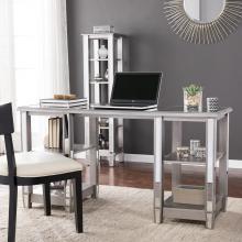 Wedlyn Mirrored Desk - Glam Style - Matte Silver w/ Mirror