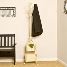 Hall Tree w/ Rattan Storage - Ivory