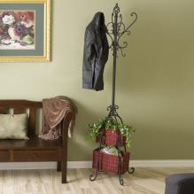 Hall Tree W/ Rattan Storage - Black