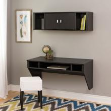 Designer Floating Desk & Hutch Set in Washed Black