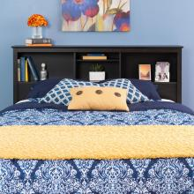Riverdale Double / Queen Bookcase Headboard, Washed Black