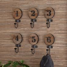 Decorative 6Pc Numbered Hook Set