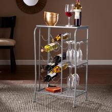 Marengo Wine Rack Storage Table- Silver