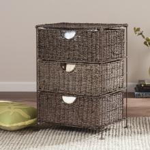 Kelsey Seagrass 3-Drawer Storage