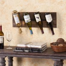 Saxon Wall Mount Wine Storage - Weathered Oak