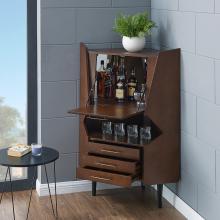 Larson Corner Bar Cabinet - Midcentury Modern - Dark Tobacco