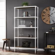 Kiev 5-Tier Bookcase -Industrial Style - White