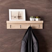 Argo Wall Mount Shelf w/ Hooks - Light Oak
