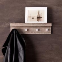 Argo Wall Mount Shelf w/ Hangers - Dark Oak