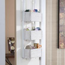 Over-The-Door 3-Tier Basket Storage - White