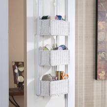 Over-The-Door 3-Tier Basket Storage - White