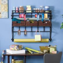 WALL-MOUNT CRAFT STORAGE RACK - MATT BLACK METAL W